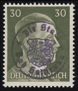 Sächsische Schwärzung Bad Gottleuba 14 Hitler 30 Pf, ** geprüft Zierer BPP