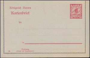 Bayern Kartenbrief K 3 Wertziffer 10 Pf mit seltenem DV 04, wie verausgabt **