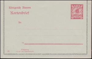 Bayern Kartenbrief K 3 Wertziffer 10 Pf mit DV 09, wie verausgabt **