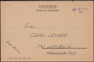 Kriegsgefangenenpost Internierten-Postkarte Sandbostel 22.10.1946 nach Lemgo