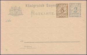 Bayern Postkarte P 72/02 Ziffer 3+2 Pf, DV 01, auf P 55II/01, wie verausgabt **