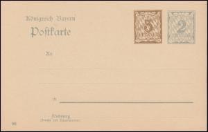 Bayern Postkarte P 74/04 Ziffer 3+2 Pf, DV 06, auf P 65/04, wie verausgabt **