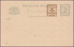 Bayern Postkarte P 75/01 Ziffer 3+2 Pf, DV 00, auf P 52/01, wie verausgabt **