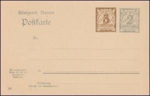 Bayern Postkarte P 78/04 Ziffer 3+2 Pf, DV 06, auf P 68/04, wie verausgabt **