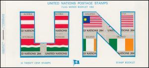 UNO New York AIDIP-Edition Flaggen-Markenheftchen 1982 Nummer 3B (weiß) **