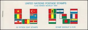 UNO New York AIDIP-Edition Flaggen-Markenheftchen 1980 (weiß) **