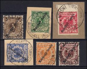 Marshall-Inseln 7-12 Krone/Adler, 6 Werte komplett, Satz gestempelt/Briefstücke