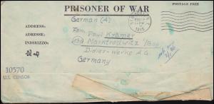 Kriegsgefangenenpost U.S. CENSOR 10570 NEW YORK 19.2.1945 nach Marktredwitz