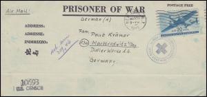 Kriegsgefangenenpost U.S. CENSOR 10693 NEW YORK 30.3.1945 nach Marktredwitz