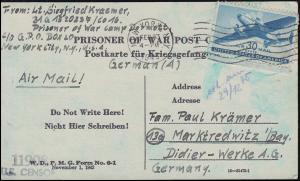 Kriegsgefangenenpost U.S. CENSOR 11908 NEW YORK 23.2.1945 nach Marktredwitz