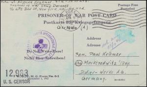 Kriegsgefangenenpost U.S. CENSOR 12983 NEW YORK 9.4.1945 nach Marktredwitz