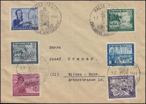 893V Reichspost 24 Pf mit PLF V auf Satzbrief mit SSt HALLE / SAALE 1.7.44