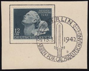 812VI Heldengedenktag: Muttermal am Hals, Feld 21, Briefstück SSt BERLIN 15.3.42