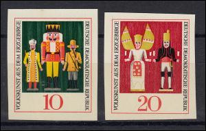 1333-1334PH Volkskunst aus dem Erzgebirge 1967, 2 ungezähnte Phasendrucke **