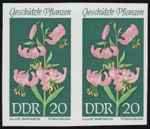 1459PH Geschützte Pflanzen 20 Pf. Türkenbund, ungezähnter Phasendruck im Paar **