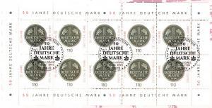 1996 Deutsche Mark - 10er-Bogen auf Kartonvorlage, ESST