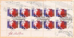 2126 Johann Sebastian Bach - 10er-Bogen auf Kartonvorlage, ESST
