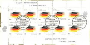 2142 Jahrestag 10 Jahr Deutsche Einheit - 10er-Bogen auf Kartonvorlage, ESST