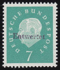 302y Heuss 7 Pf Versuchsdruck, Handstempel-Aufdruck