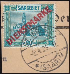 Dienstmarke 13 Aufdruckmarke mit PLF III auf Briefstück, geprüft Hoffmann BPP