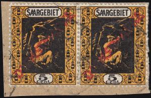 Dienstmarke 2Ib Aufdruckmarke als Paar auf Briefstück, geprüft Hoffmann BPP