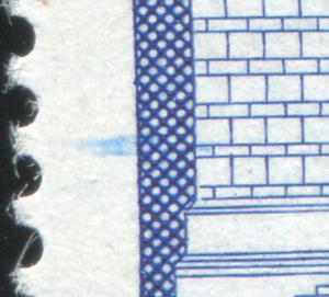 2549 Bauwerke 50 Pf - markanter Farbstrich im linken Markenrand **