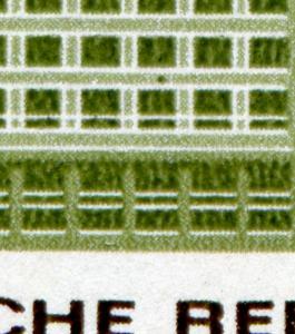 1128 INTERMESS 40 Pf aus Block 24 mit PLF grüner Punkt über dem Fenster, **