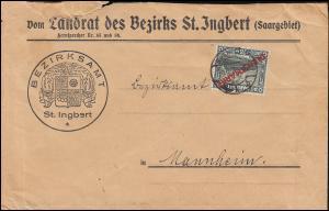 Dienstmarke 15 Aufdruckmarke mit PLF XIX EF Brief ST. INGBERT 8.6.28 BPP-geprüft