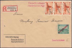 Dienstmarke 3a+29(3mal) Aufdruckmarken-MiF Orts-R-Brief SAARBRÜCKEN 10.11.33 -18