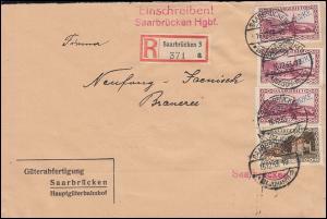 Dienstmarke 27a+28(3mal) Aufdruckmarken-MiF Orts-R-Bf. SAARBRÜCKEN 16.12.33 -18