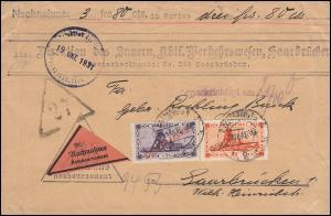 Dienstmarke 29+31 Aufdruckmarken-MiF auf Orts-NN SAARBRÜCKEN 19.10.1931