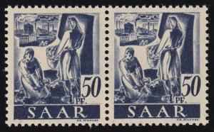 220III Freimarke 50 Pf im Paar mit PLF III Kerbe im Schriftbalken unten links **