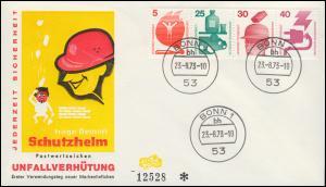 Zusammendruck-Streifen 5/25/30/40 Pf aus HBl.24 Unfall 1973 auf FDC BONN 23.8.73