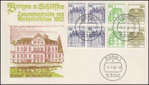 HBl. 29 aus MH 24 Burgen und Schlösser 1982 auf Schmuck-FDC 1.7.82