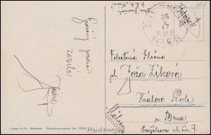 Schiffspost K.u.K. KRIEGSMARINE S.M.S. WIEN - 28.4.17 als Feldpost auf AK Budva