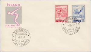 Island 314-315 Sport: Ringen und Turmspringen auf Schmuck-FDC ESSt 1.4.1957