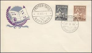 Island 325-326 Islandpferd, Satz auf Schmuck-FDC ESSt 27.9.1958