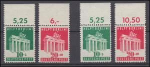 101-102 Brandenburger Tor in Zähnung A und E; 2 Oberrand-Sätze im Set, alle **