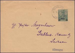 Deutsche Post Jerusalem 5.6.1901 auf Streifband S 2 n. Chemnitz-Gablenz/Sachsen