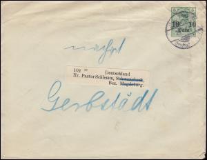Deutsche Post Jerusalem um 1905 auf Umschlag 4 nach Schwanebeck bei Magdeburg