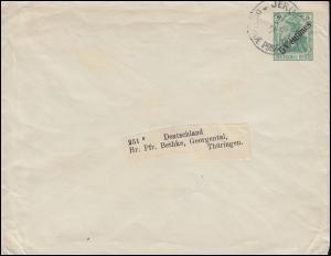 Deutsche Post Jerusalem 15.8.1911 auf Umschlag U 5 nach Georgental / Thüringen