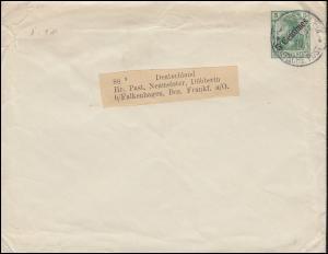 Deutsche Post Jerusalem im Dezember 1910 auf Umschlag U 5 nach Deutschland