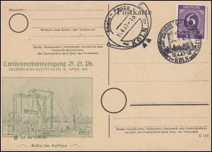 Privat-Zudruck grün auf PK Rhein-Posta Köln Neben- und SSt KÖLN 12.4.47 EF 916