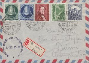 Aachen grüßt zur Heiligtumsfahrt 1951 R-Brief passender SSt AACHEN 18.7.51