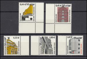 2298-2302 SWK 44/45/55/100/160 Cent, 5 Werte komplett, Satz mit Muster-Aufdruck