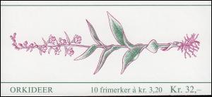 Norwegen Markenheftchen 15 Blumen: Orchideen 1990, ** postfrisch