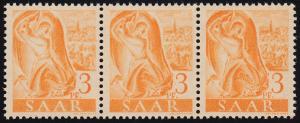 207IV Freimarke 3 Pf. als 3er-Streifen mit PLF IV gebogener Strich, Feld 58 **