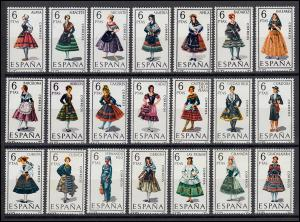 Spanien 1662ff Trachten-Set mit 53 Marken - komplett von 1967-1971, Set **