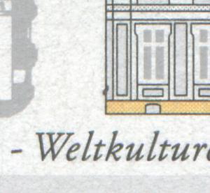 1913 Brühl: schwarzer Fleck in der Außenmauer unten links, Feld 6, **