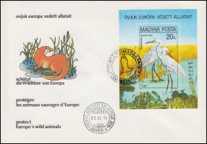 1980 Ungarn 3457 Block 146A Naturschutzjahr Silberreiher, gezähnt auf FDC